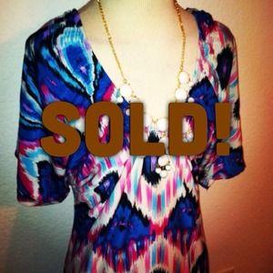 *NWT* Sz L pink // blue tribal print scoop dress