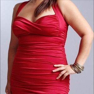 Red stretchy body dress