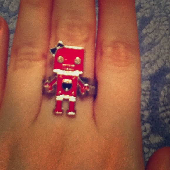 Red Adjustable Robot Rings