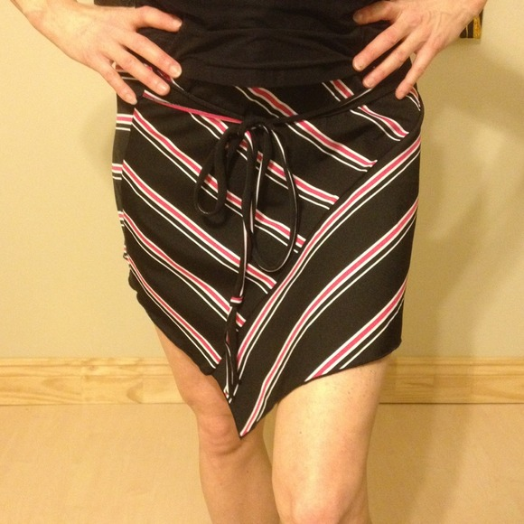 Studio Y Skirts - Black, pink, white stripe skirt with tie.