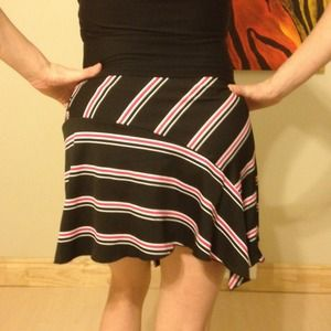Studio Y Skirts - Black, pink, white stripe skirt with tie. 3