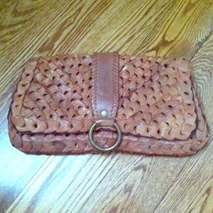 genuine leather oversized clutch