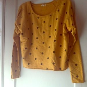 Cute yellow sweater with black polka dots size S