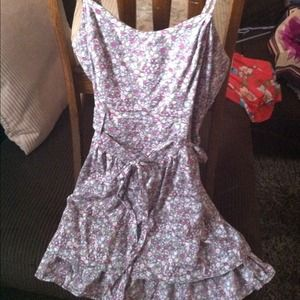 Grey, pink and purple floral sun dress!