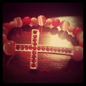 Jewelry - Sideways Cross Beaded Bracelet (Pink)