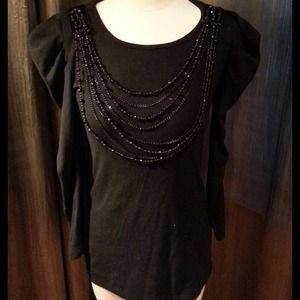 xxx Tops - Beaded Long top with puffy shoulder long sleeves