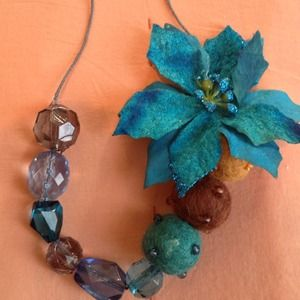 Blue & Black Flower Necklace!