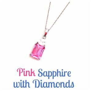 Jewelry - Diamond and Pink Sapphire- Lab Created
