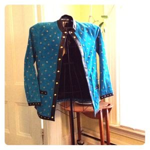 Final Reduction  NEW   Leather jacket Teal Sz XS