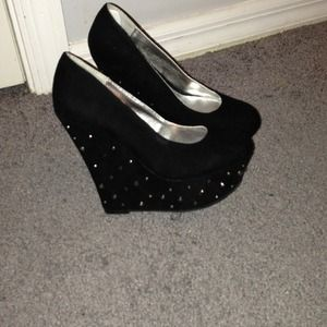 Shoes - Black studded/bling out wedges