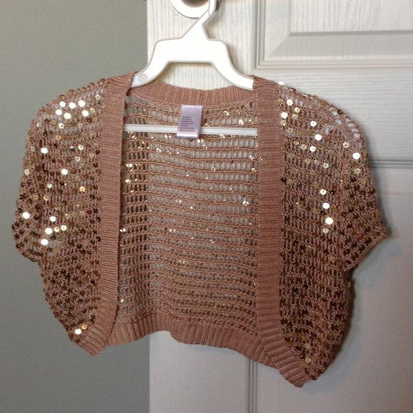 71% off Sweaters - Gold sequined bolero type shrug S/M size from ...