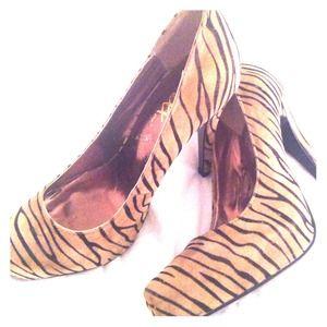 Mixx -high heel zebra/black and brown print