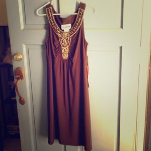 Gorgeous brown dress with great beaded pattern
