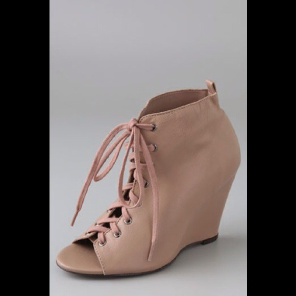 f5e5caf7b0d Joie tan lace up booties wedge peep toe $325retail