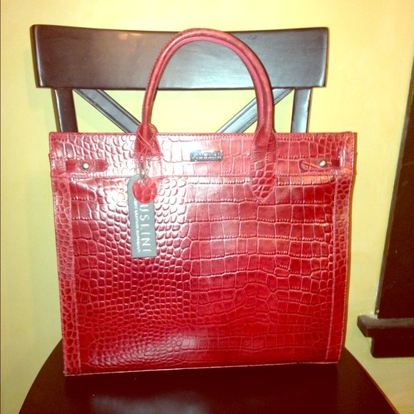 58% off auslini Handbags - Red crocodile luxury leather Auslini ...