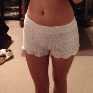 Shorts - White Crochet Shorts