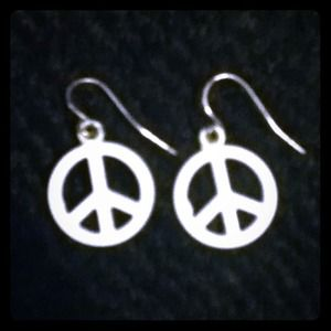 White Peace Sign Earrings
