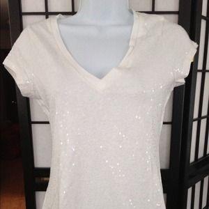 Brand new sequin white v neck top