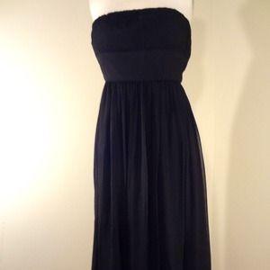 J Crew Black Strapless Silk Dress