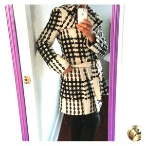 Express - Express white coat with hood from Claire's closet on ...