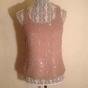 Tops - Taupe Sequin Top