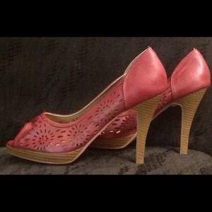 Red peep toe heels. NWOT