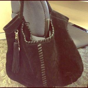 Black suede handbag