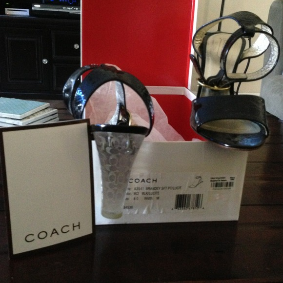 Coach Shoes - Black & lucite Coach sandal with heel. Size 8.