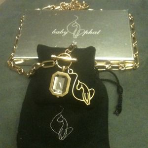 Baby Phat Accessories - BABY PHAT gold metal link chain with watch & logo