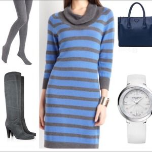 August Silk stripe cowl neck dress