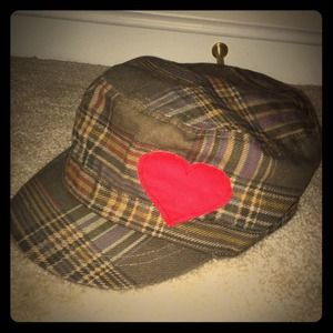 HOST PICK x2!!! cute plaid hat with heart patch