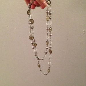 Statement silver toned necklace