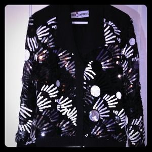 Jackets & Blazers - Black Silver & White Sequin Blazer