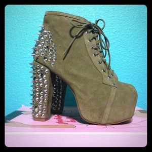 Authentic Jeffrey Campbell Lita Spike Taupe Suede
