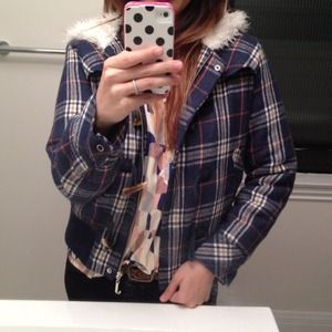 Juicy Couture Jackets & Blazers - Juicy Couture blue plaid fur jacket!