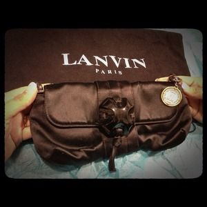 Black Satin Lanvin Paris Clutch
