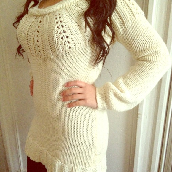Old Navy knitted cream-colored sweater dress
