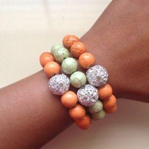 NEW Natural Stone & Shamballa style bracelet