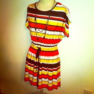 Dresses & Skirts - *NWT* Sz L / XL coral & yellow striped dress