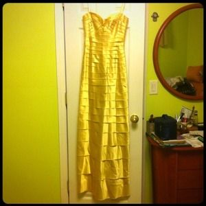 REDUCED!Brand new BCBG yellow satin laser cut gown
