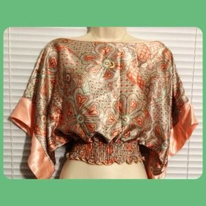 Cropped Coral & Mint Floral Top, Size S