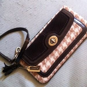 wool and leather coach wristlet