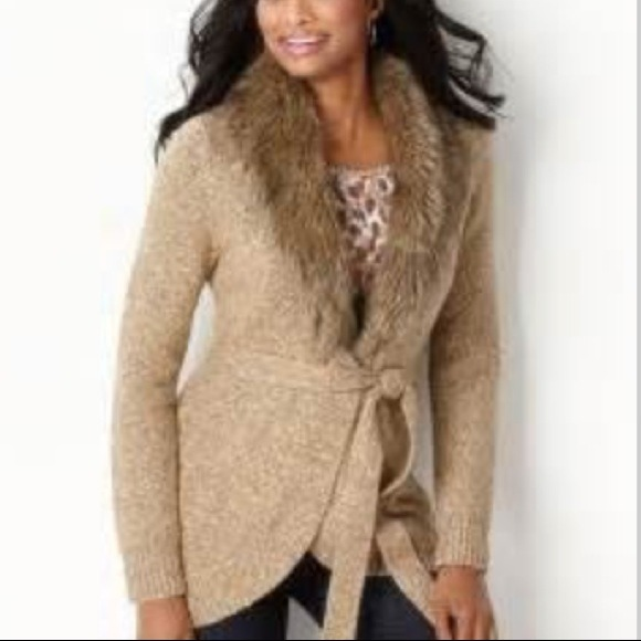 74% off Charter Club Sweaters - NWT Charter Club faux fur sweater ...