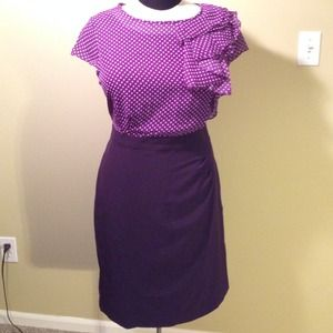 Shelby and Palmer  Dresses & Skirts - Purple high waist pencil dress, ruffle, cap sleeve