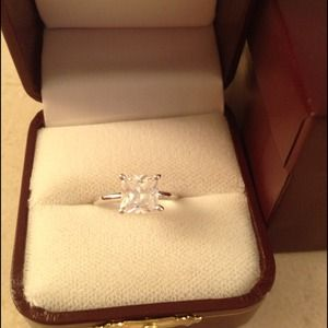 Princess cut CZ solitaire & sterling band. NWOT.