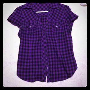 60 Off Tops Purple Black Blue Plaid Button Up Shirt