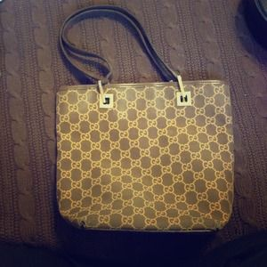 Gucci Handbags - Authentic Gucci Brown and Gold Tote
