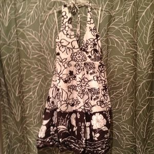 Brown and cream floral halter dress