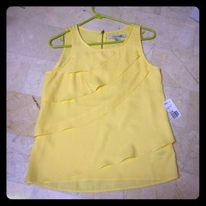 Yellow sheer chiffon layer tank, size small