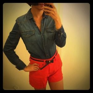 Orange High-waist Shorts